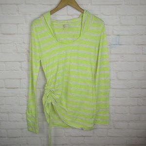 Prana women's Neon Green Striped Hooded Top